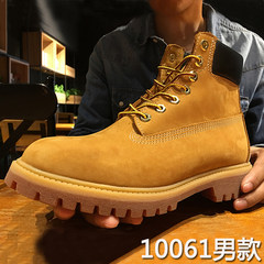 Martin male British style boots high boots leather boots with helper short winter snow shoes female yellow desert rhubarb Thirty-eight 10061 wheat yellow