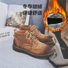 The British man Martin boots high shoes leather boots shoes retro carved male fashion casual boots Thirty-eight 17263 carved Brown plus velvet