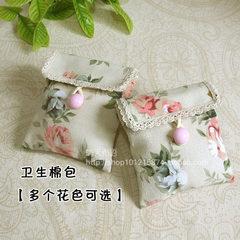 Handmade canvas towel bag, sanitary napkin bag, m napkin, sanitary cotton bag, printing gift bag Pink flowers