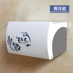 Free toilet paper towel box toilet paper box plastic perforated bathroom toilet paper holder waterproof roll carton box Blue and white porcelain 21cm to strengthen the stick nails drilling / free beat