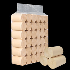 Natural bamboo fiber household toilet paper and bamboo pulp and paper without bleaching yellow solid antibacterial roll 36