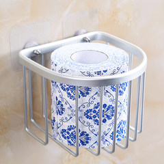 No hole toilet, toilet paper towel box, toilet paper basket, paper rack, paper towel rack, toilet paper holder, toilet paper box, sucker Space aluminum tissue box (delivery 2 suction cups)