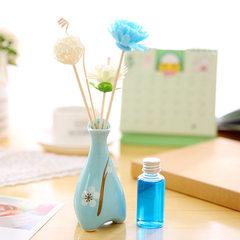 无火香薰套装彩色陶瓷瓶藤条香薰精油花瓶厕所卫生间卧室香水摆件 按所需香水拍下即可 海洋蓝