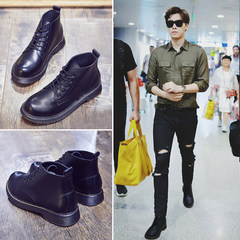 Middle class black Martin boots, male winter English wind boots, Korean leather boots, round head short boots, men's Boots Forty-four Black (with velvet)