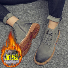 With velvet boots ankle boots high boots for men to help tide Martin all-match boots casual leather shoes in England Forty-one Plush grey