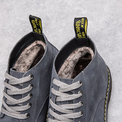 Winter boots, Martin boots, men's leather, British high boots, retro fur, men's shoes, suede, casual suits, boots Thirty-seven Grey (plus velvet)