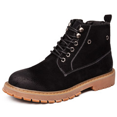 Men's boots boots, British leather desert boots, Martin shoes, Korean winter boots, mid high boots Thirty-six 7801 black