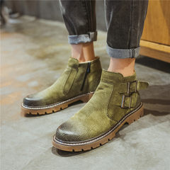 Korean men Martin boots winter boots sleeve retro round punk boots casual shoes tide British high shoes Forty-three 17363 green