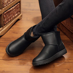 Winter snow boots men with cotton boots boots leather slip waterproof warm short tube thickening men couple shoes Thirty-six Black (male)