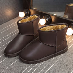 The winter with snow boots warm cashmere men male boots waterproof antiskid cotton boots leather shoes men boots snow Forty-three Brown (with velvet thickening)