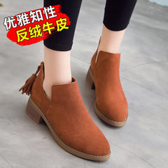 2018 spring and autumn new ladies` short boots with frosted leather, British style, zipper tassel an In the black list 34