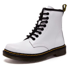 Autumn/winter 2018 new British Martin boots genuine leather large size women`s shoes 41-43 sizes mid white 35