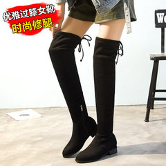 Manufacturer direct selling new knee-high boots hot style European and American thin leg flannelette black 34