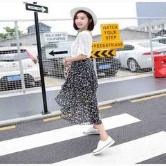 Small fresh autumn 2018 new Korean version of irregular fishtail high waist broken female fishtail s 0039 broken flower skirt s.