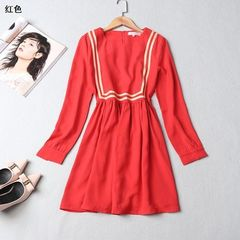 Ming wei women`s dress 2018 spring round neck zippered long-sleeve dress Red [10972301] s.