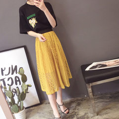 Two sets of embroidered letter pure cotton T shirts + lace lace halter dresses for lady Black and yellow skirt s.