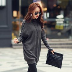 Spring clothing new large size women wholesale loose thin bat sleeve han version long-sleeve dress gray s.