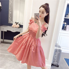 2018 summer sweet one word neck shows shoulder tightness waist to show thin grid hundred build mediu red m