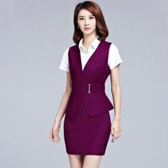 Professional suit female autumn wear v-neck temperament 2017 vest suit xia elegant trim Korean versi Wine red m