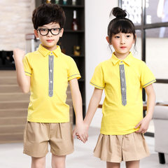 The new kindergarten uniform of 2018 is made to order in the class uniform of Korean version yellow 90