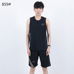 Summer fashionable young men pure cotton short sleeve shorts loose cotton sports casual home wear th 859 black m