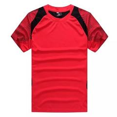 A set of 2016 hot style round neck men`s baseball suit for leisure sports, perspiration, light plate red l