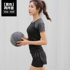 Yoga summer workout suit women`s tight short-sleeved T-shirt women`s casual top two shorts Black short-sleeved shorts s.