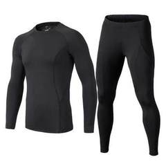 Wholesale new men`s sports tights suit long sleeve stretch fitness suit foot basketball training bas black s.