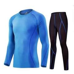 New men`s fitness suit, long sleeve sports tights, fast dry running, basketball training, stretch le The color blue m