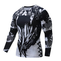 New style tights men`s sport long sleeve basketball running compression speed dry clothing elastic m black s.