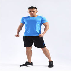 Summer 2018 men`s fitness suit, two-piece suit, quick dry tights, running suit, training gym blue m