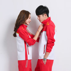 Spring and autumn student couples long sleeve sports wear class suit China team appearance wear nati red s.