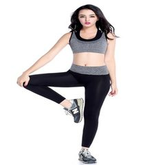 Women`s gym running speed dry sweat fitness suit yoga suit outdoor sports suit 2 sets gray s.