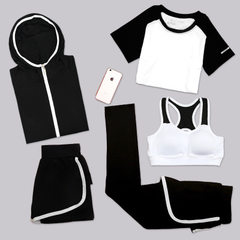 South Korean version of the new autumn winter yoga suit fitness running suit clothes fast dry five p A five-piece black and white coat s.