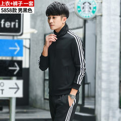 Sports suit men`s spring and autumn trousers youth sportswear Man in black m