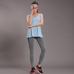 新款女假两件长背心带速干网布拼接九分裤运动健身套装一件代发 蓝色 S/M