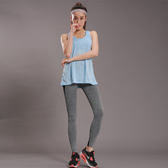 New style female false two long vest take quick dry net cloth mosaics 9 minutes pants fitness suit a blue S/m
