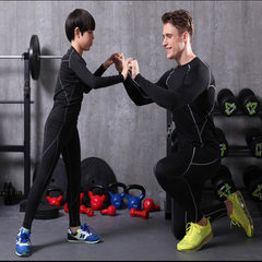 Autumn winter children`s adult body-hugging suit men`s fitness training suit two sets of fast dry br Black with white s.