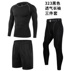 Fitness suit tights men`s autumn and winter running gym compression suit fast dry sleeve three piece 323 black s.