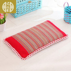 Old Chen family brand pure cotton old coarse cloth baby pillow baby pillow baby pillow buckwheat pil Bright red It`s 3 centimeters high and 25 centimeters wide and 43 centimeters long