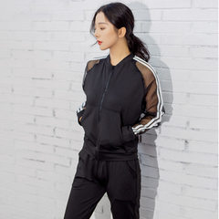 2018 spring and summer new three-piece sports suit women`s net gauze fashionable sexy fitness wear w Black two-piece suit s.