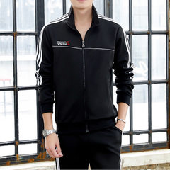 2018 spring and autumn lovers sports suit men`s running suit women`s long-sleeved leisure and body-b Man in black s.