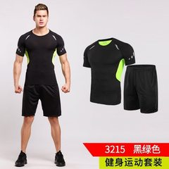 Fitness suit men`s evening running suit tights student short-sleeved basketball suit quick drying su 3215 black and green s.
