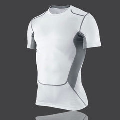 Wholesale sports tights short sleeve breathable high elastic fitness wear men`s compression training white m