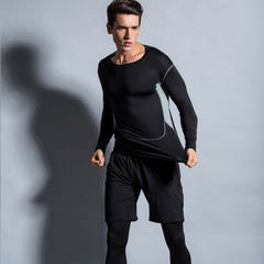 Manufacturer spot fitness wear three men`s long sleeve running fitness suit autumn and winter sports black m