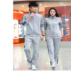 Sports suit men`s spring and autumn women`s long-sleeved outdoor leisure running suit lovers` bodywe Gray female 1633 l