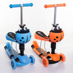 The glitter wheel of xinlilong Swiss children`s skateboard car triad around the seat tricycle pedal Blue, orange
