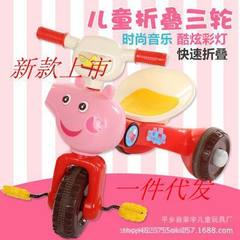 Children`s tricycle toy car children`s bicycle boys` and girls` baby stroller folding car 2-3-4 year red
