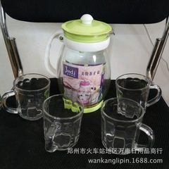 Five pieces of glass water pot, glass water bottle, tea pot, tea ware gift set green