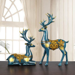 Resinous craft gift creativity european-style couple moose decoration decoration decoration decorati blue The new elk